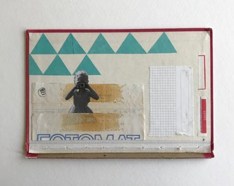 Fotomat #178 // Mixed Media Collage on Vintage Book Cover // Unframed
