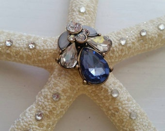Sparkle Starfish Silver and Blue Medium