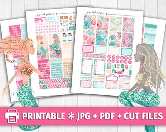 MERMAID DREAMS Printable Planner Stickers/for use with Erin Condren/Weekly Kit/Cutfiles Beach Summer Vacation June July Cricut Pink Sand
