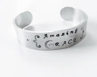 Amazing Grace Bracelet Cuff Hand Stamped Aluminum Bracelet Christian Hymn Music Inspirational Motivational Jewelry Gift Idea For Her