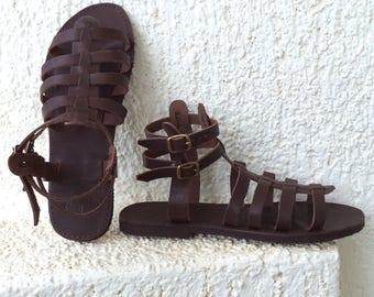 Greek Gladiator Spartan Sandals, Women, Men handmade strappy leather sandals, brown