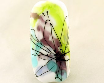 Lampwork Beads, Glass White Watercolor Focal, Green, Purple, Blue with Black Flower