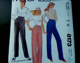 1980s McCalls 8173 sewing pattern Misses Pants Size 10 Hips 34 1/2 inches