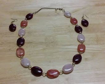 Handmade Oval Glass Bead Necklace and Earring Set - Rose