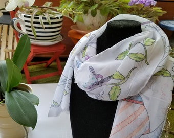 My Favorite Things Scarf - Teapots and Dragonflys