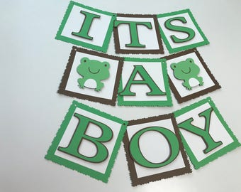 Sample Sale Frog It's A Boy Baby Shower Banner, Frog Baby Shower