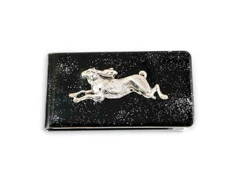 Money Clip Hare Rabbit Inlaid in Hand Painted Black Glossy Enamel with Silver Splash on Silver Plated Clip Alice in Wonderland Inspired