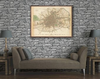 """Old Dublin Map 1836, map of Dublin, Ireland. Vintage Dublin map- 3 color choices and 4 large/XL sizes up to 32x24"""""""