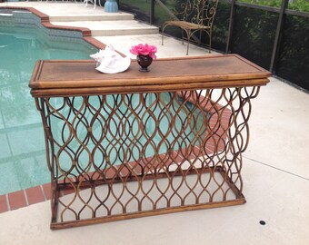 """PENCIL REED CONSOLE / 45"""" Sculptural Rattan and Reed Console Table with Folding Top / Unique Bamboo Reed Console Table at Retro Daisy Girl"""