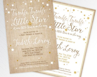 Burlap and gold glitter Twinkle, twinkle, little star baby shower printable invitation, digital invitation