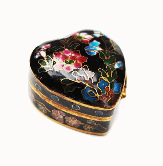 Cloisonne Heart  Pill box - small black enameling -floral flower - blue interior -hinged trinket  ring box