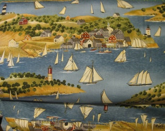 Tall Ships Lighthouse and Sailboat Cotton Quilt Fabric by South Seas Imports