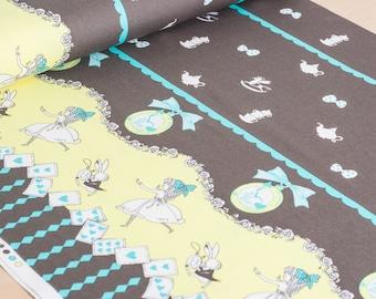 Shinzi Katoh   Japanese fabric - kawaii Usagi Alice - oxford cotton - brown - 1/2 YD