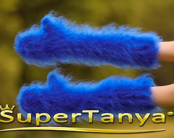 Made to order hand knit thick and fuzzy mohair mittens in royal blue by SuperTanya