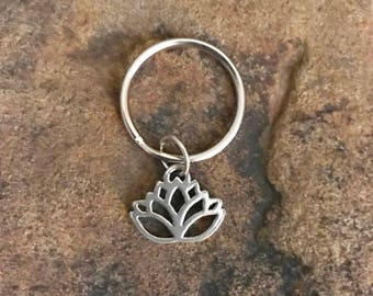Silver Lotus Keychain Gifts Under 5