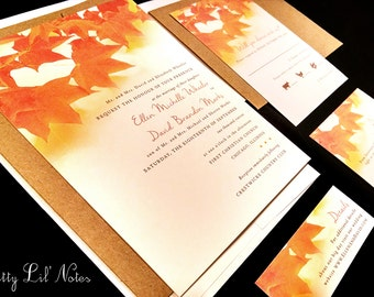 Fall Tree Leaves Leaf Custom Unique Wedding Invitation Oak Outdoor Maple Forest Summer Fall Autumn Nature Kraft Orange Red Yellow Gold Photo