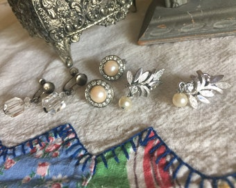 Vintage Antique clip and screw on earrings 3 pairs lot Monet Avon