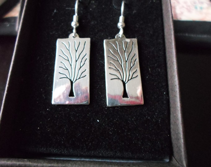 Tree of Life  rectangle earrings solid back w/sterling silver chain