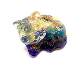 Orgone énergétique Chat violet et turquoise lumineux