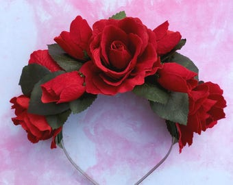 Red Rose Crown, Red Rose Headband, Red Flower Crown, Wedding Crown, Red Hair Accessory, Red and Green, Rose Hair Flower, Golden Plains