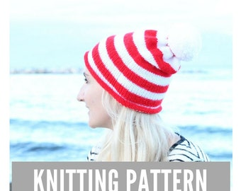 Knitting Pattern / Slouchy beanie hat with pom pom / Striped hat pattern / Easy hat knitting pattern / Slouch hat