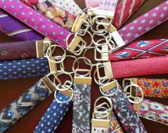 CUSTOM Upcycled Silk Necktie Key Fob Set//Gift for Him Under 30 Personalized Memory Tie Handmade Keychain Wristlet Ring Chain