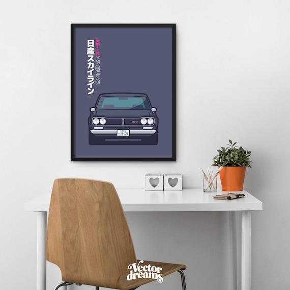 Nissan Skyline GT R KPGC10 Hakosuka Car Poster Art Print Wall