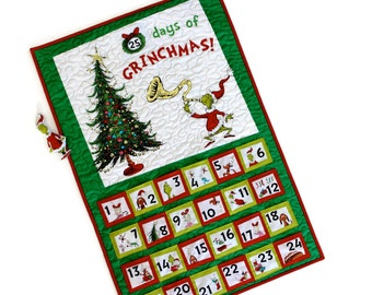 Grinch Advent Calendar, Quilted Wall Hanging, Dr. Seuss Activity Panel, Perpetual Kids, Holiday Quilt, Christmas Countdown, Quilts for Sale