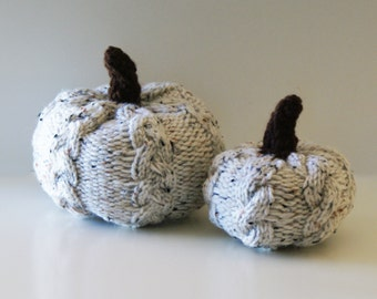 "DIY Knitting PATTERN - Cable knit Pumpkins for Thanksgiving (in 5"", and 6.5"" diameter)"