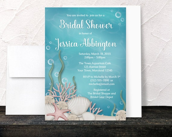 Under the sea bridal shower invitations whimsical underwater like this item filmwisefo Images