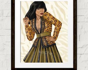 Fashion illustration - Art print - Rihanna - Balmain - Glamazon