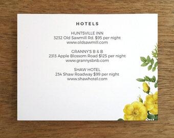 Printable Wedding Information Card - Botanical - Yellow Rose Wedding Info Card - Blank Wedding Card - Wedding Direction Card - PDF