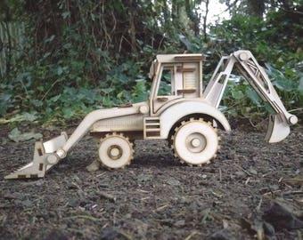 Front Loader Tractor & Hoe Plywood Laser Cut Model