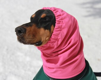 Water resistant Snood for Dog - size Large - Bright Pink - Softshell Fleece