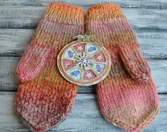 Womens Knit Mittens. Handmade Mittens. Knit Gloves.