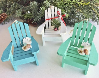 BEACH DECOR CHRISTMAS ornament, mini Adirondack chair, beach chair, turquoise, white or aqua, nautical, coastal Christmas ornament, 3.5""