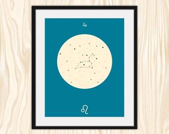 LEO Astrological Constellation Print, Zodiac Art, Minimalist Fine Art Print Poster