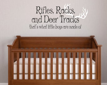 Rifles, Racks, Deer Tracks Boys Hunting Wall Decals - Little Boys Are Made of Children Wall Decal Vinyl Art - Nursery Wall Vinyl Decal Vinyl