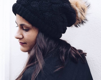 Knitted Hats With Furry Pom Pom