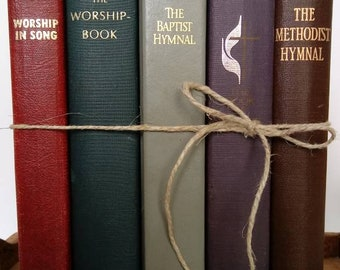 5 hymnals from different denominations. Hymns, church music, patriotic music solos, choir, church songs to enjoy singing.