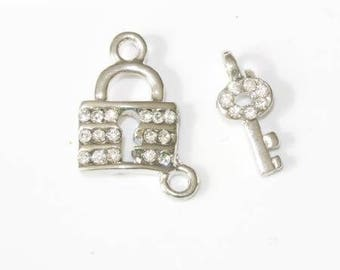 Key and padlock charms set in Silver trimmed with Rhinestones