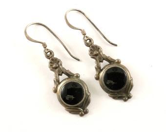 Vintage Black Onyx Floral Design Drop Dangle Earrings Sterling Silver ER 757