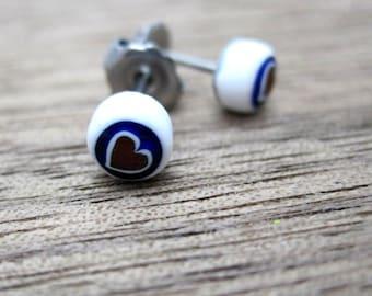 Millefiori glass stud earrings minimalist tiny fused glass - hearts