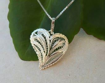 Handmade Sterling Silver Filigree Heart Pendant, Filigree Heart, Heart Pendant, Silver Heart, Silver Heart Pendant