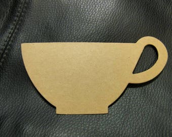 Tea Cup  Die Cut from Kraft Chipboard 4.75 x 2.25 inches Tall  Pack 6