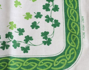 "Vintage Tea Towel - Green Irish lucky clover Shamrock Celtic Knot  motif Pure linen made in Ireland 19""x29"""