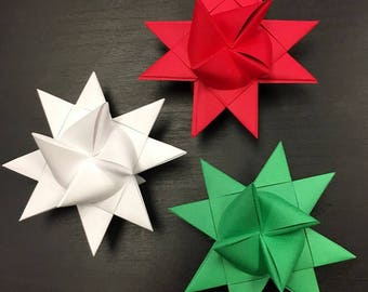 13 Medium Red White and Green German Paper Stars Quick Order Ready to Ship Moravian Stars Star Ornaments