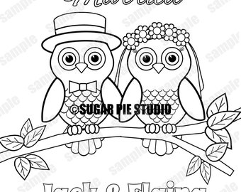 Personalized Printable Owls Bride Groom Wedding Party Favor Childrens Kids Coloring Page Activity PDF Or JPEG