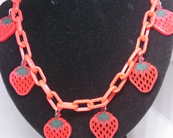 Strawberries necklace. Strawberry necklace. Strawberry jewellery