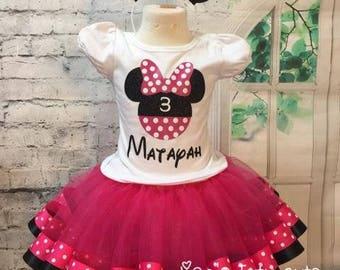 Minnie Mouse tutu, Minnie Mouse outfit, Minnie Mouse birthday outfit, Minnie tutu outfit, Minnie tutu, Minnie Mouse Birthday shirt